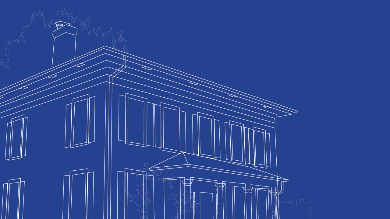 old historic home with chimney in a line drawing with blue background
