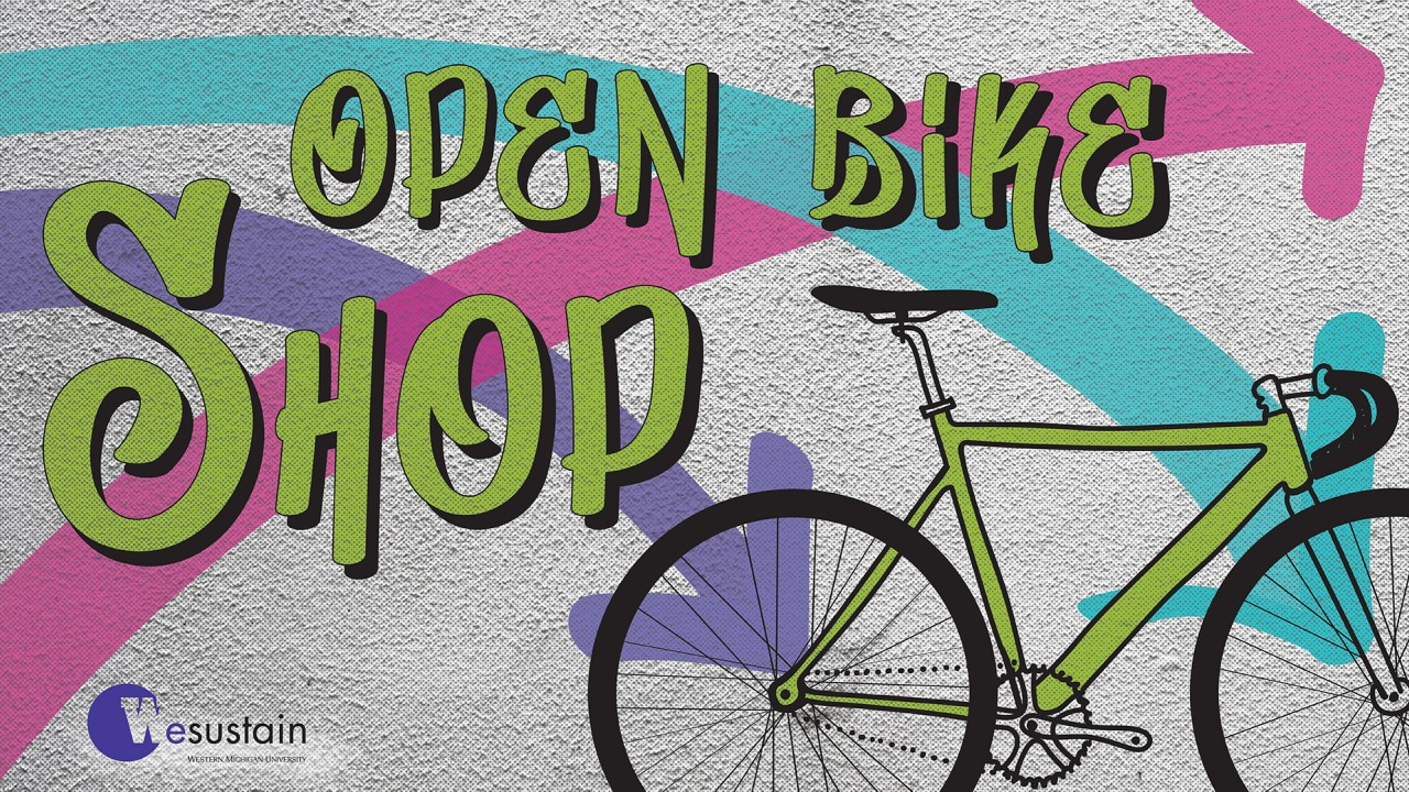 "retro color scheme with graffiti graphics saying ""open bike shop"" over an illustration of a green road bike"