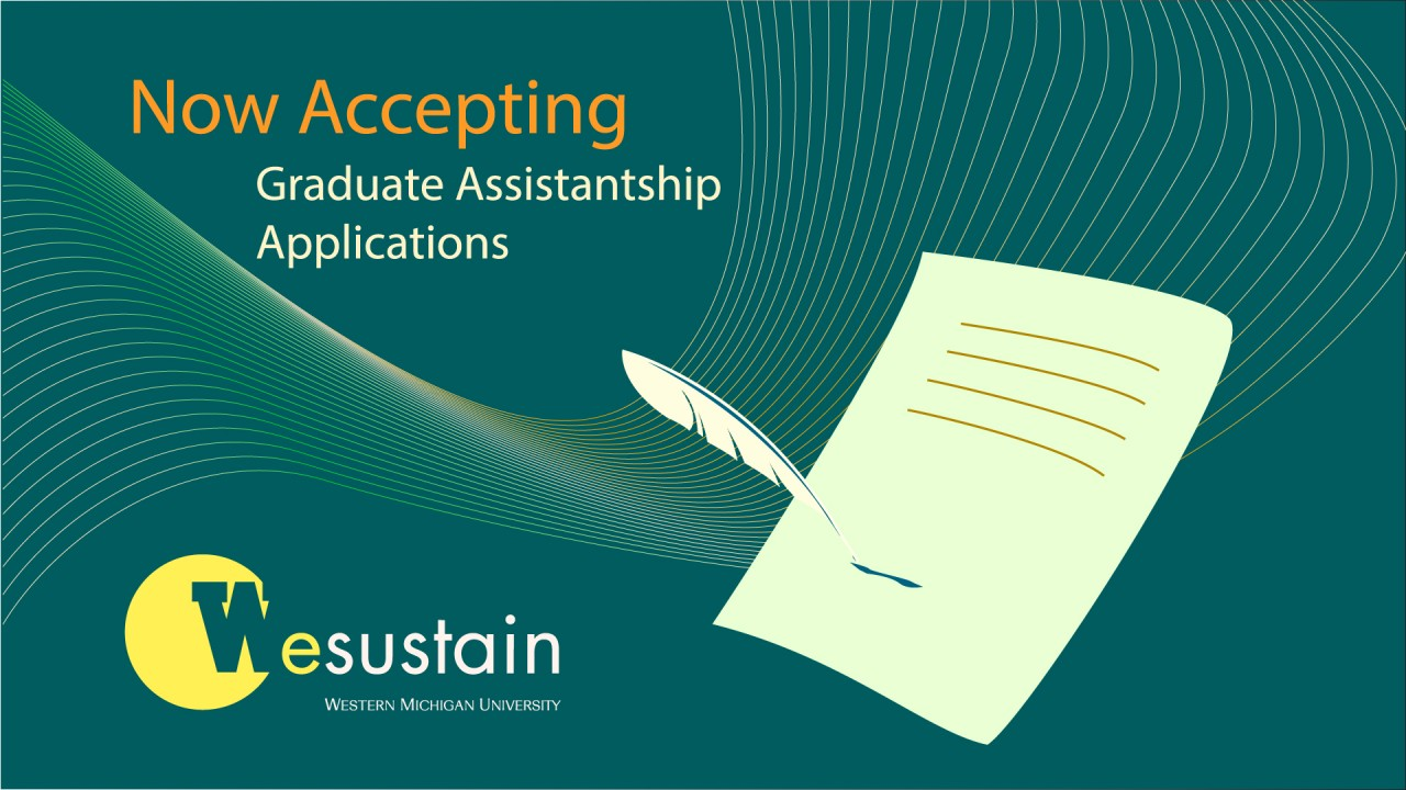 """""""Now Hiring - Graduate Assistantship Applications"""" green/blue wavy graphic with feather pen writing on fancy scroll of paper"""