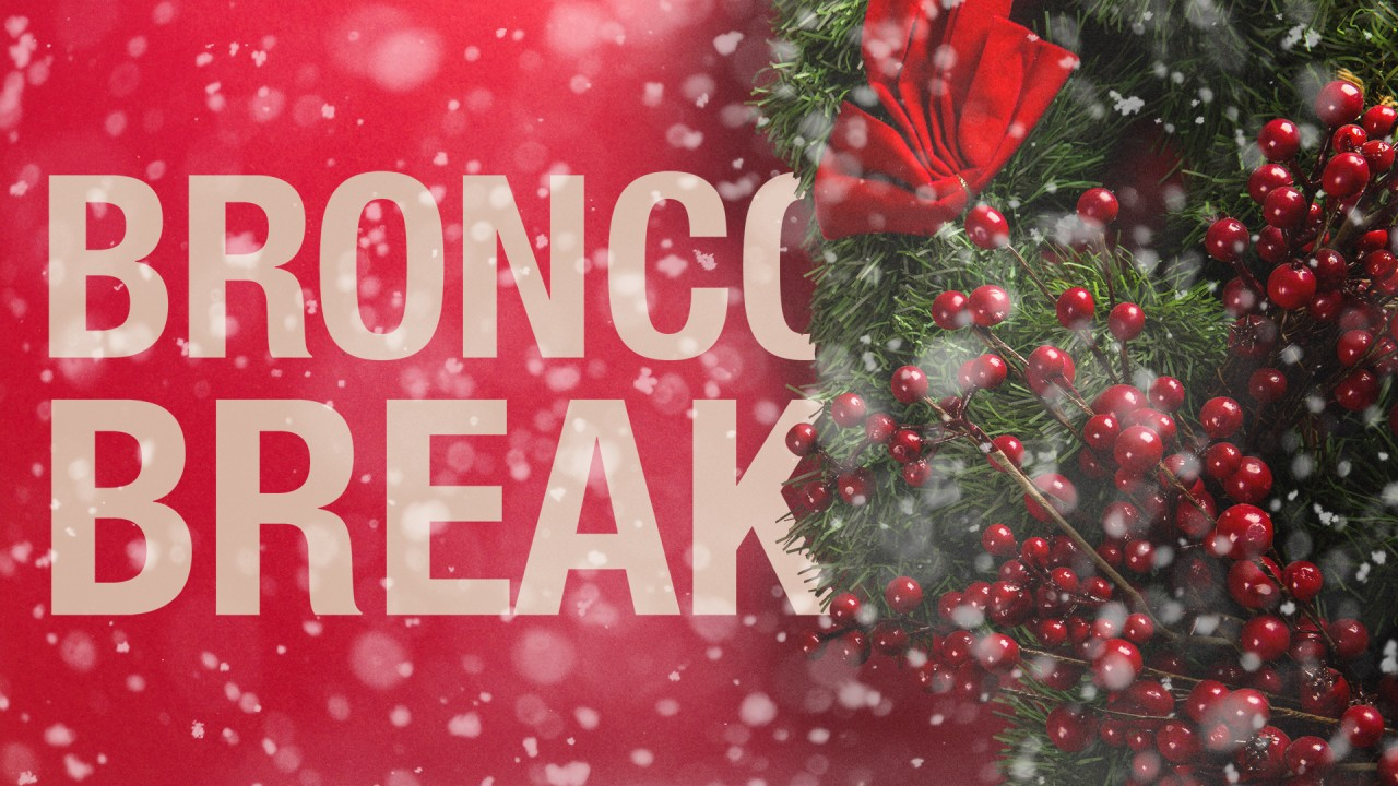 Images has a red background a with green wreath that has a red bow and berries. Snowflakes drift across the whole image. Images has text that says Bronco Break.
