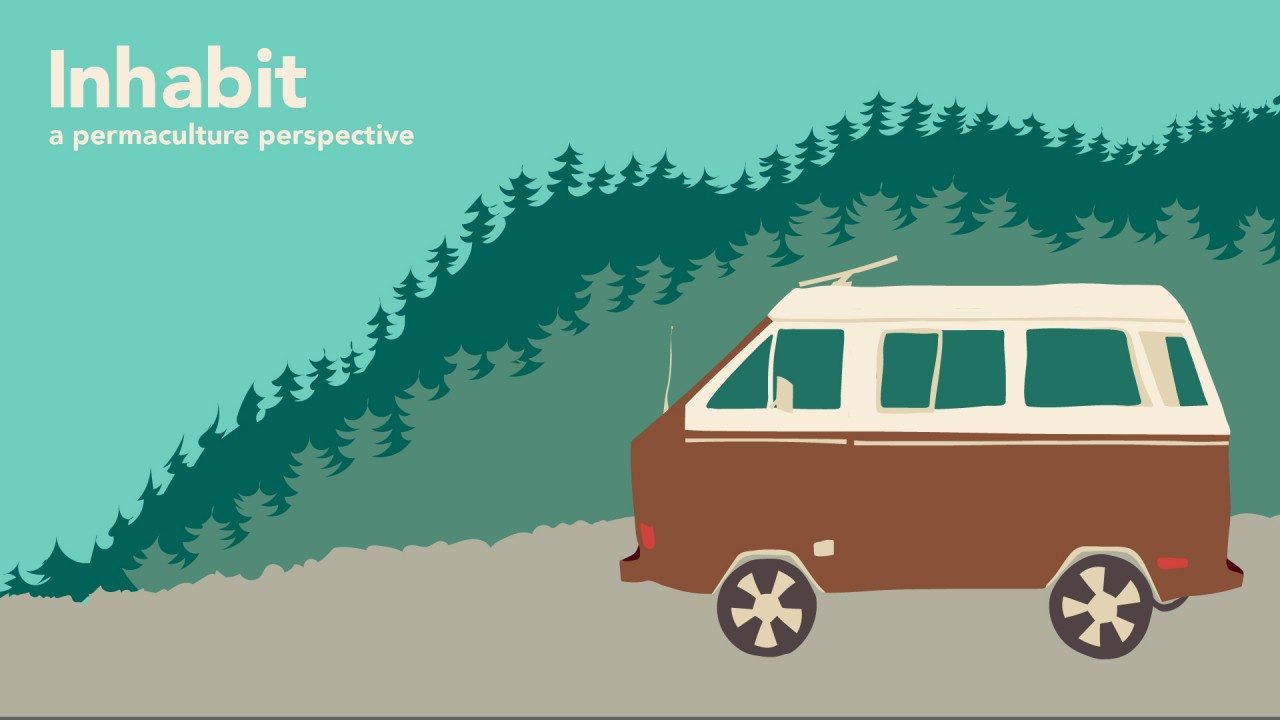 "Graphic with text that says ""Inhabit"" a permaculture perspective."" The graphic has a dated brown and tan van going through the woods on a grey path"