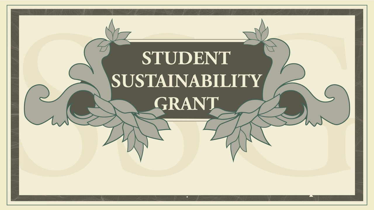 "Text says, ""Student Sustainability Grant"" graphic is a green and tan abstract with flowers surrounding text"