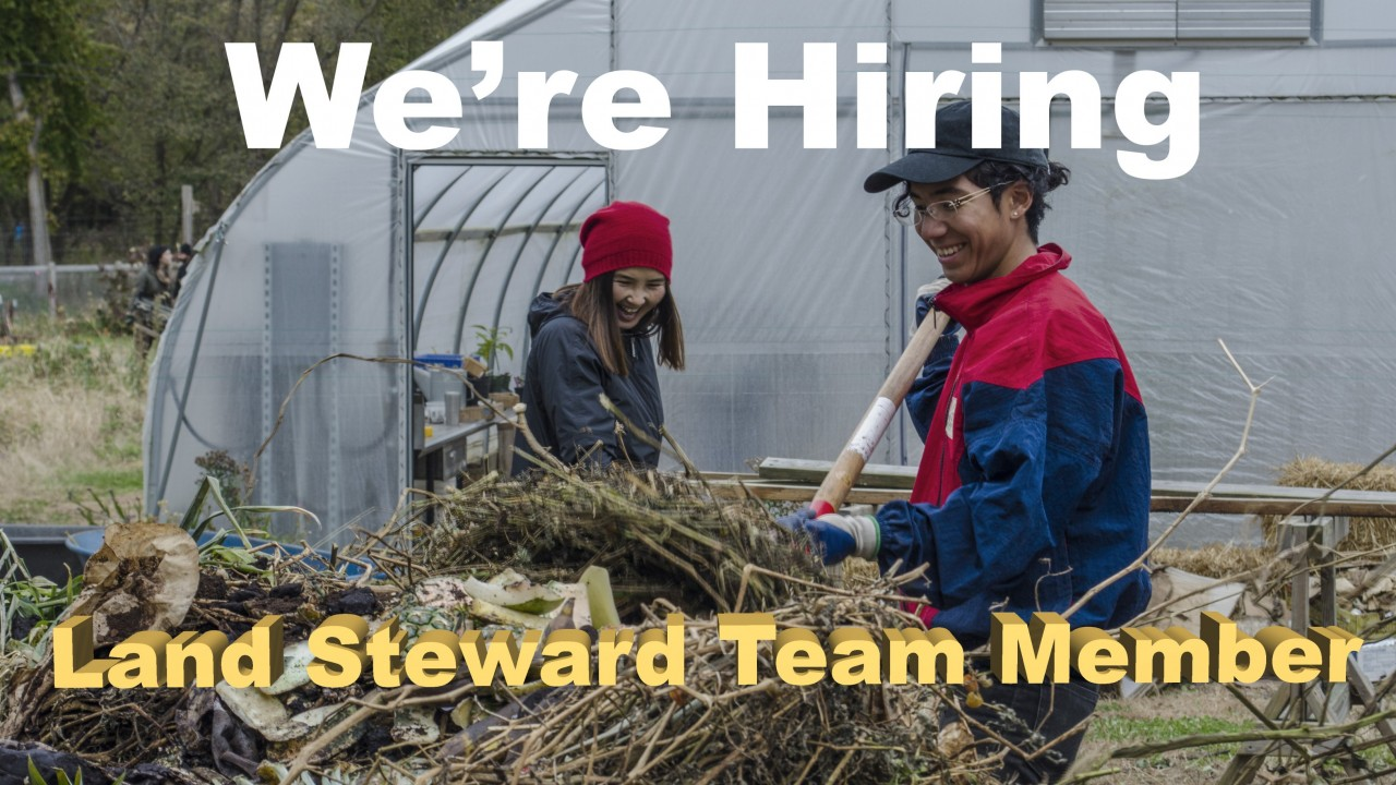 """Text says, """" We're Hiring, Land Steward Team Member"""" - Two smiling students are putting food scraps on a compost pile"""