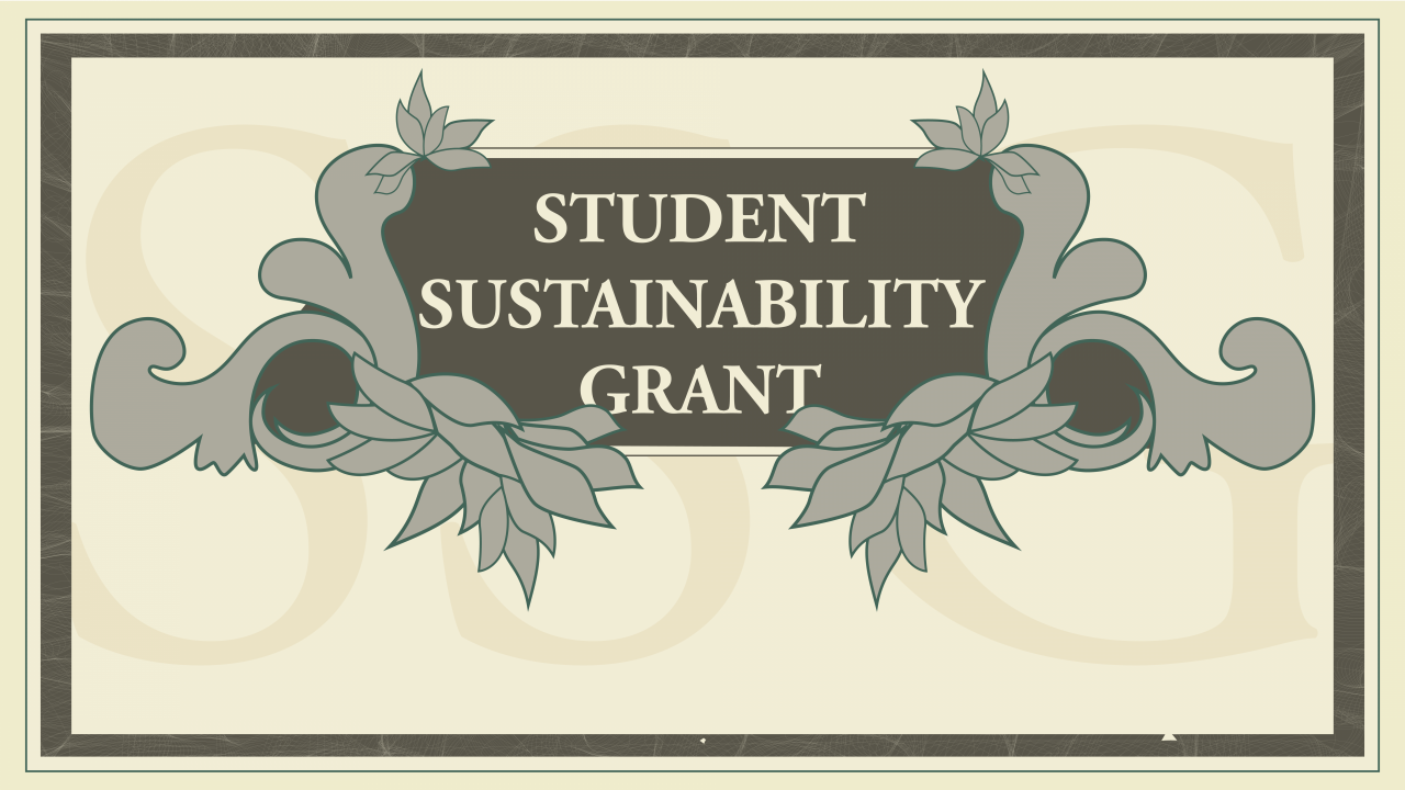 "Text Says, ""student sustainability grant"" image is a graphic with flowers surrounding a sign"