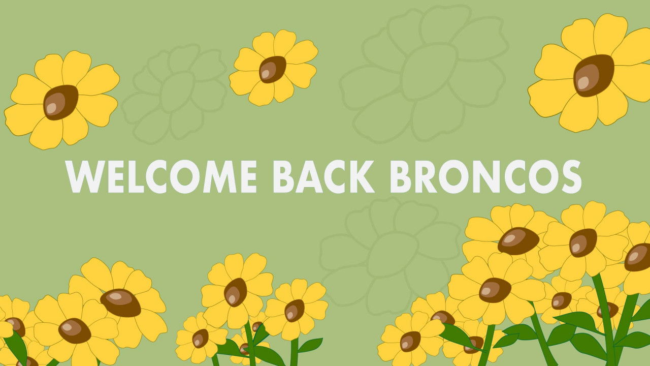 "Text says, ""Welcome Back Broncos"" Background color is green and there are yellow sunflower graphics surrounding the text"
