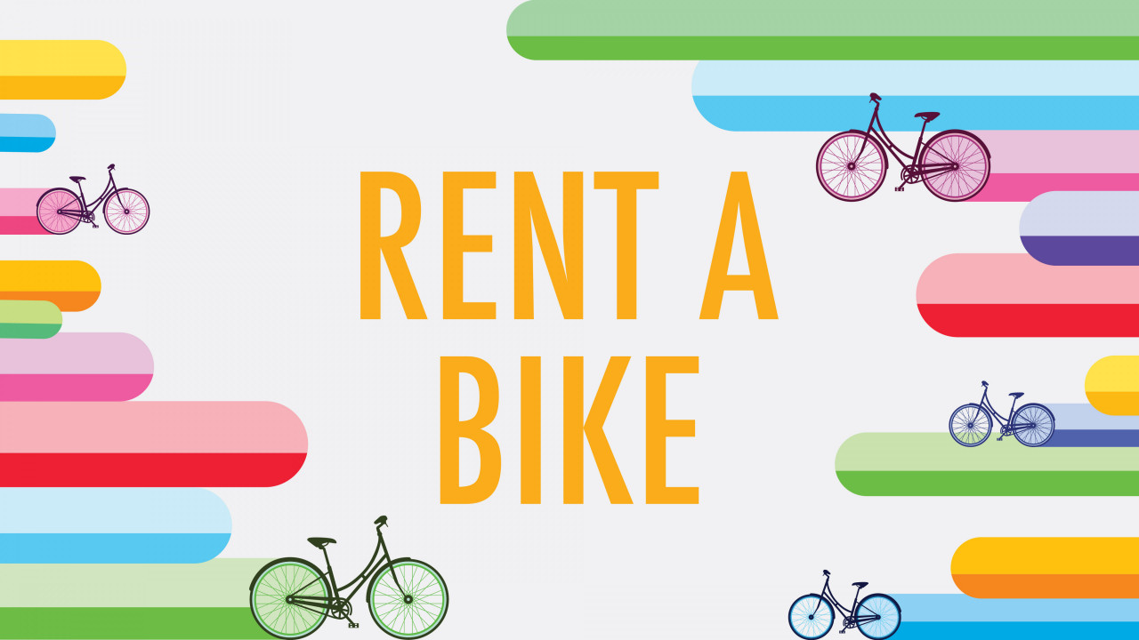 """Text says, """"Rent a bike"""" graphic shows various colors with 5 bikes riding with the colors"""
