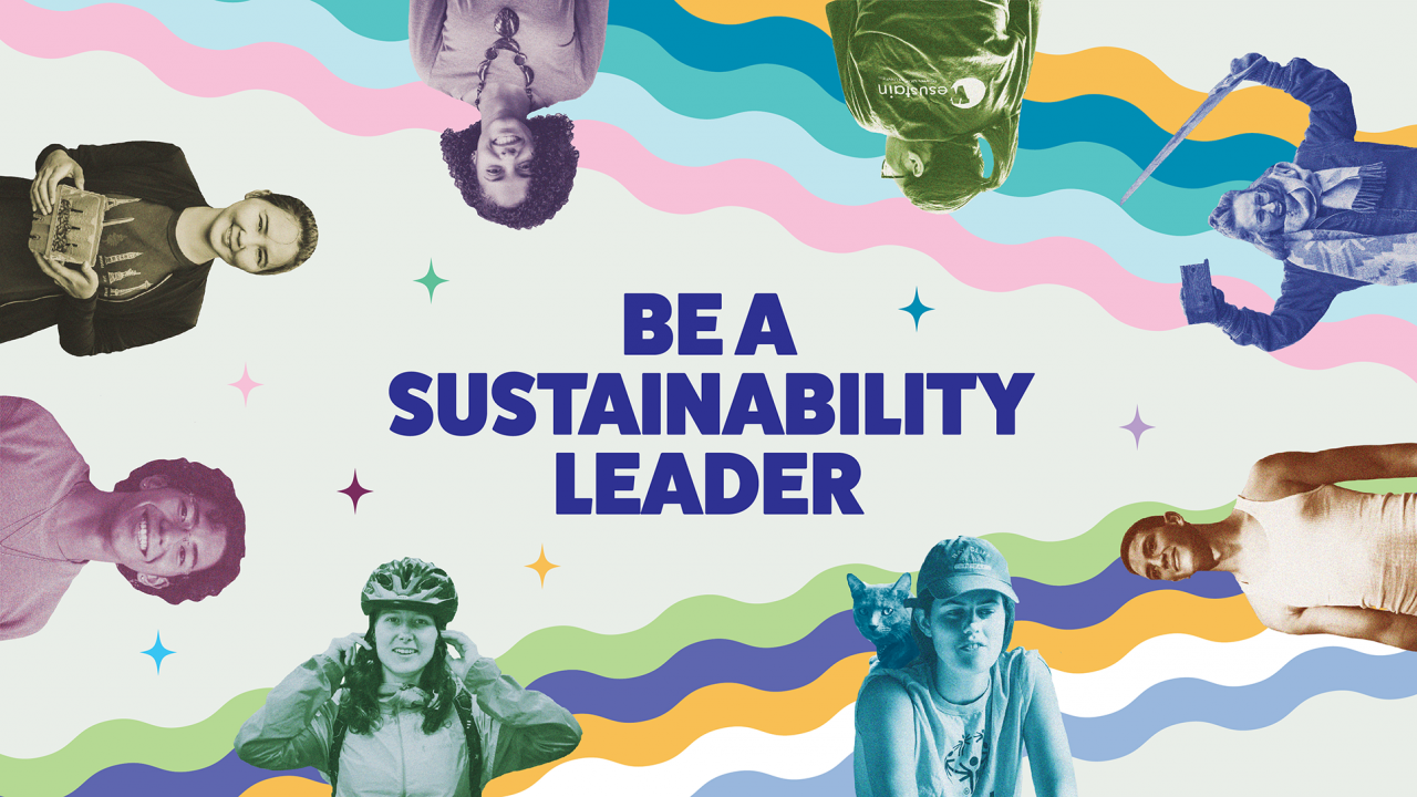 """text says, """"be a sustainability leader"""" image shows 8 students participating in various internship activities  background has two rainbows and 7 stars"""