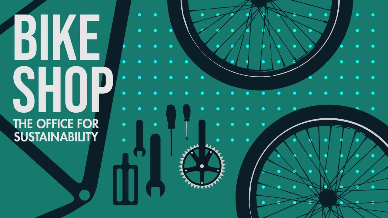 """text says, """"bike shop, the office for sustainability"""" with graphics of a disassembled bike"""