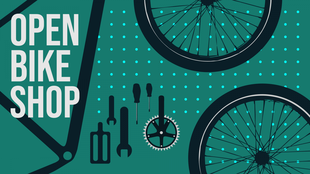 """Text says, """"Open Bike Shop"""" graphic shows two bike wheels, a bike crank, and a few bike tools on a green background."""