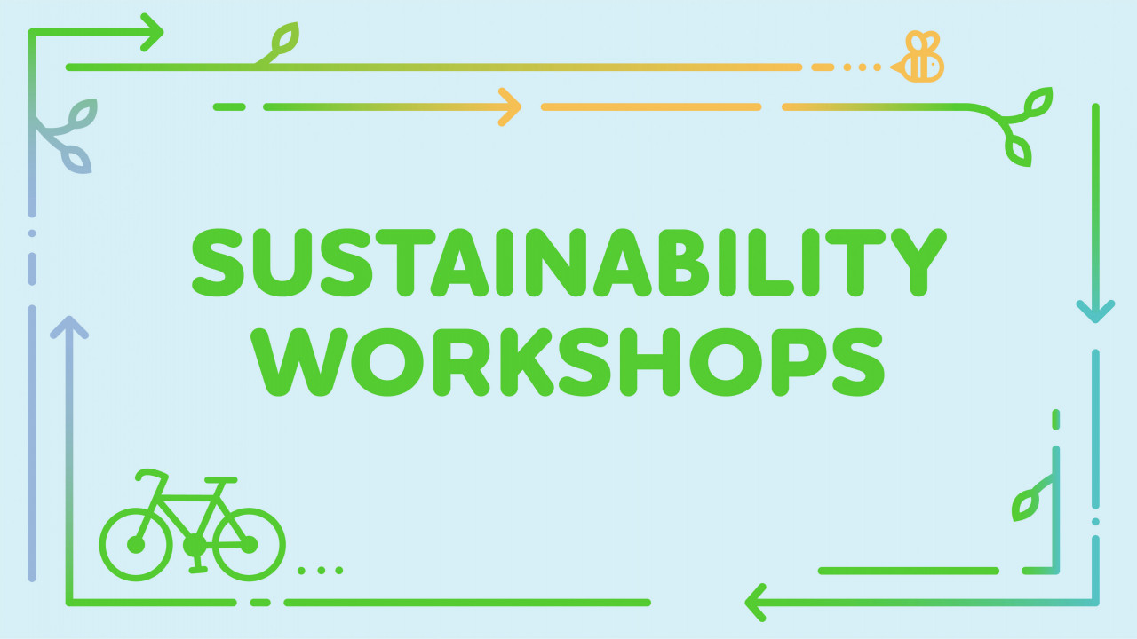 """Text says, """"Sustainability Workshops"""" with a blue background and a bike and bee graphic"""