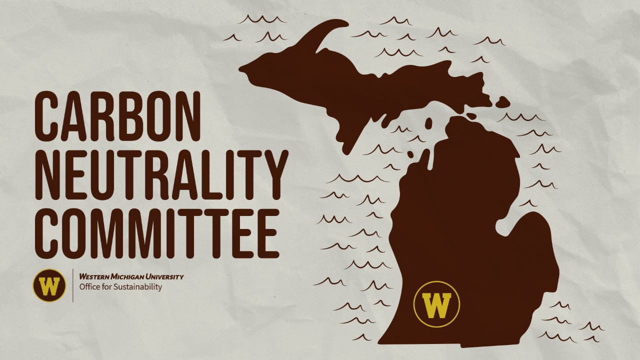 """Text says, """"Carbon Neutrality Committee"""" image is of Michigan with Western's logo"""