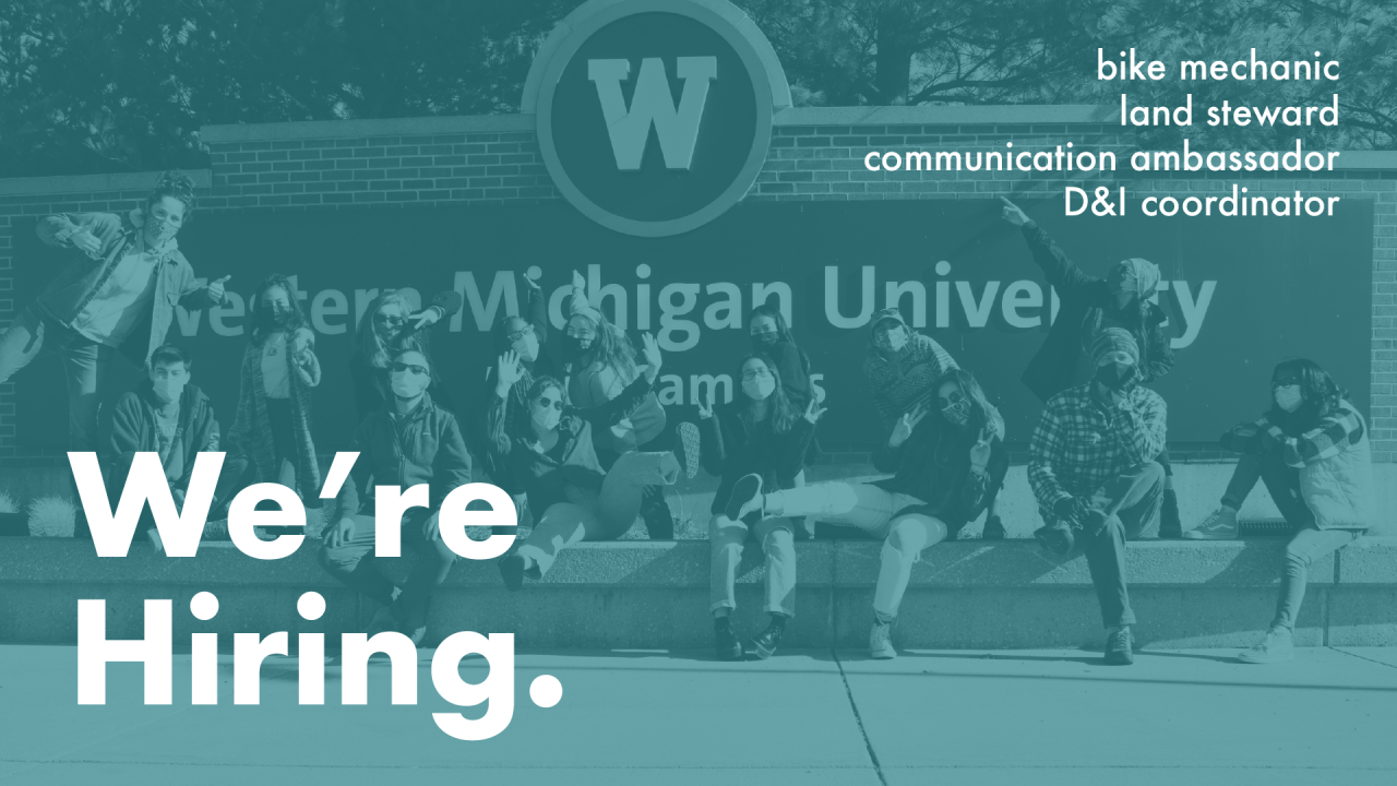 "Text says, ""we're hiring"" bike mechanic, land steward, communication ambassador, D&I Coordinator"