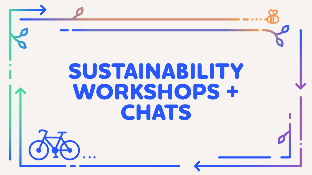 """text says, """"sustainability workshops and chats"""" with a bike, bee, and colorful arrows going around the graphic"""