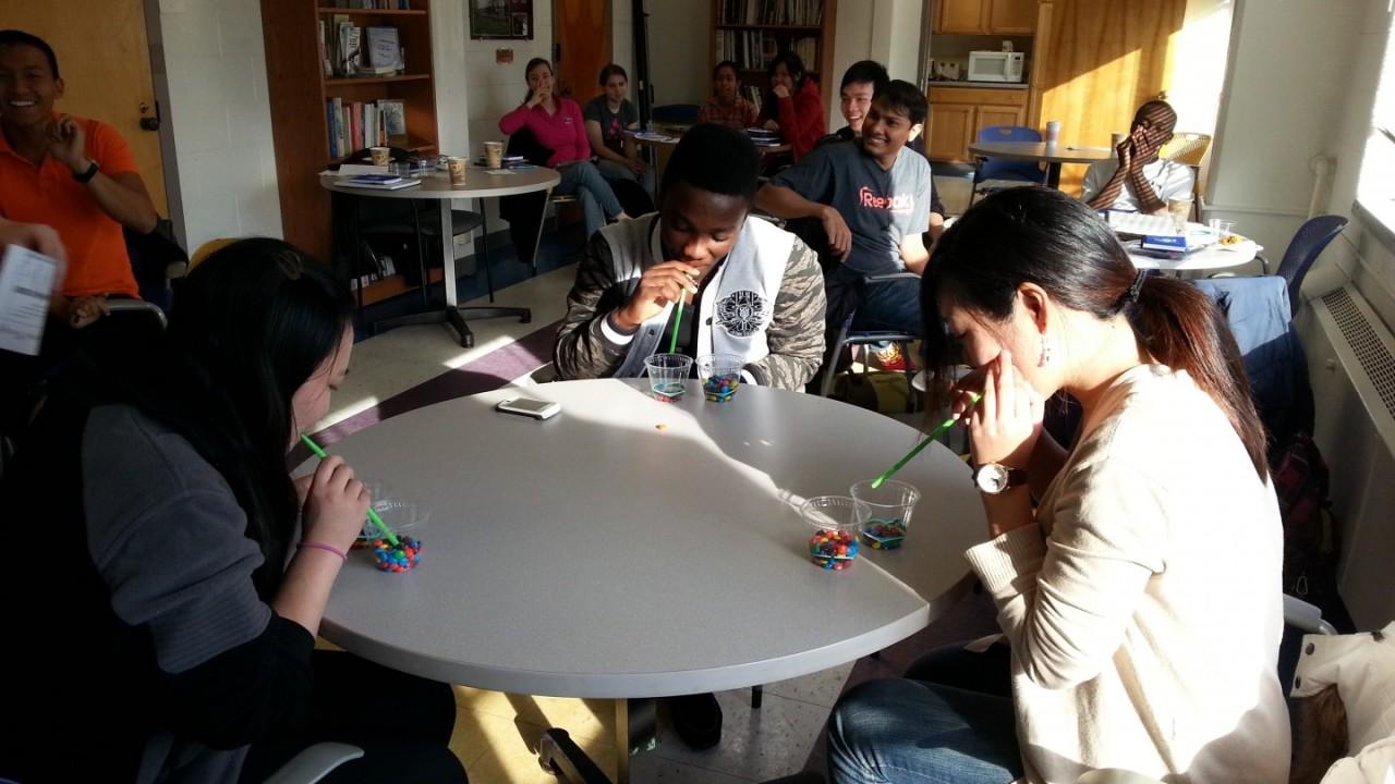 Peer mentors participate in M&M pickup.
