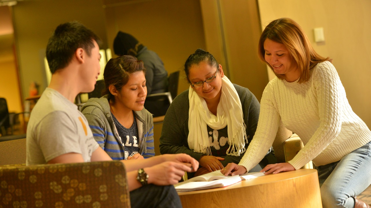 Two students meeting with two peer mentors for a group session.