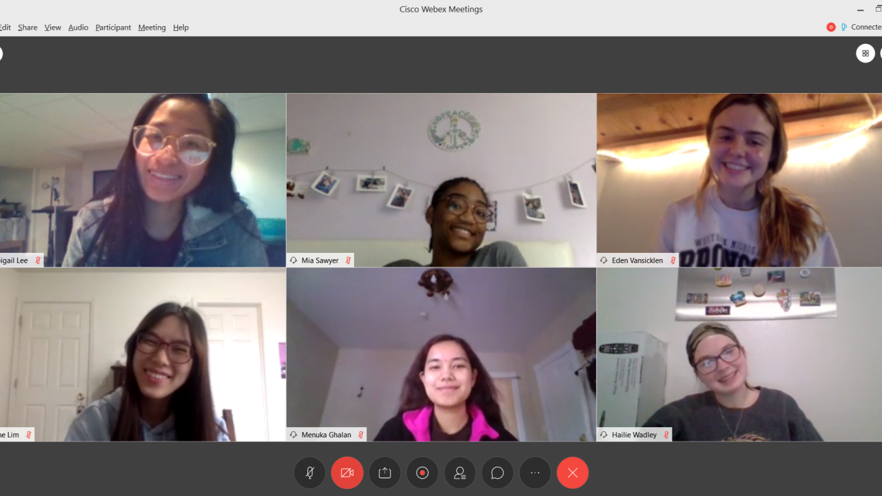 Screenshot of six mentors during a virtual study session on Webex.