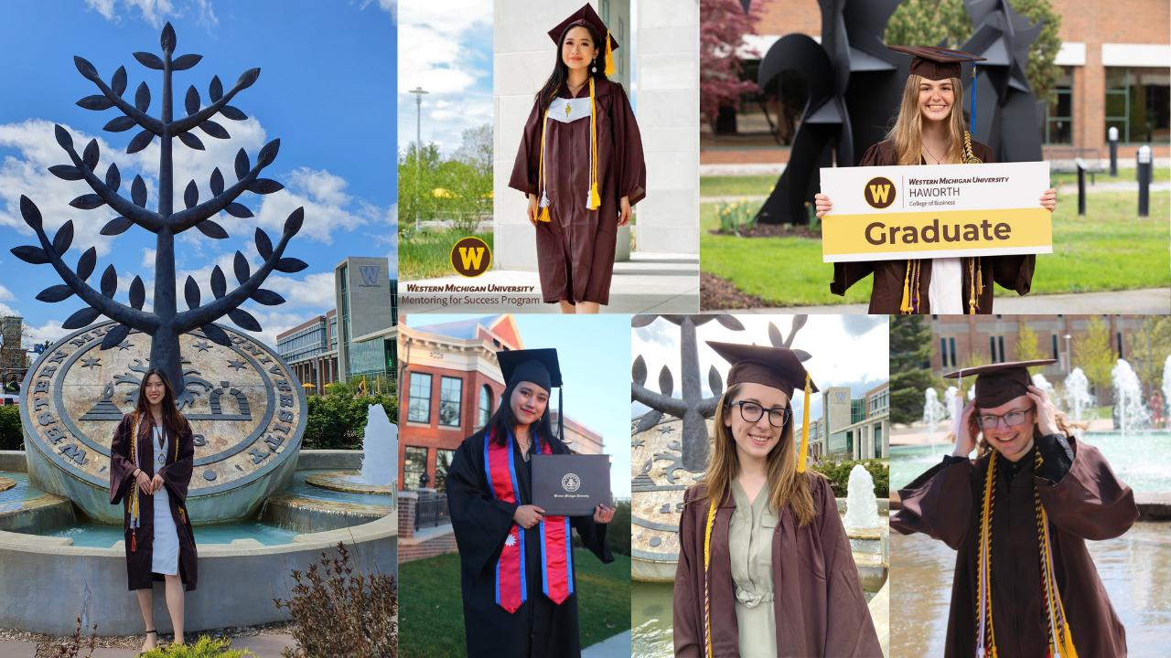 Collage of six students in their cap and gown at various campus locations.