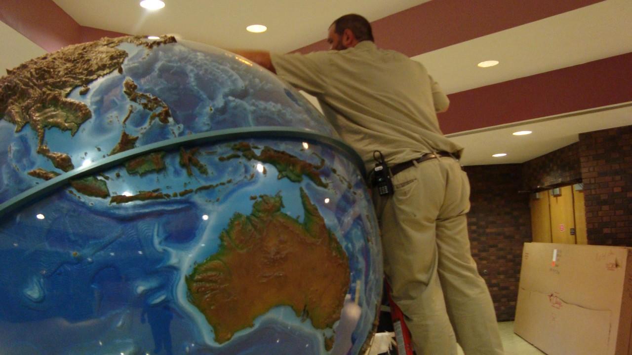 Detailing the globe in Haenicke Hall