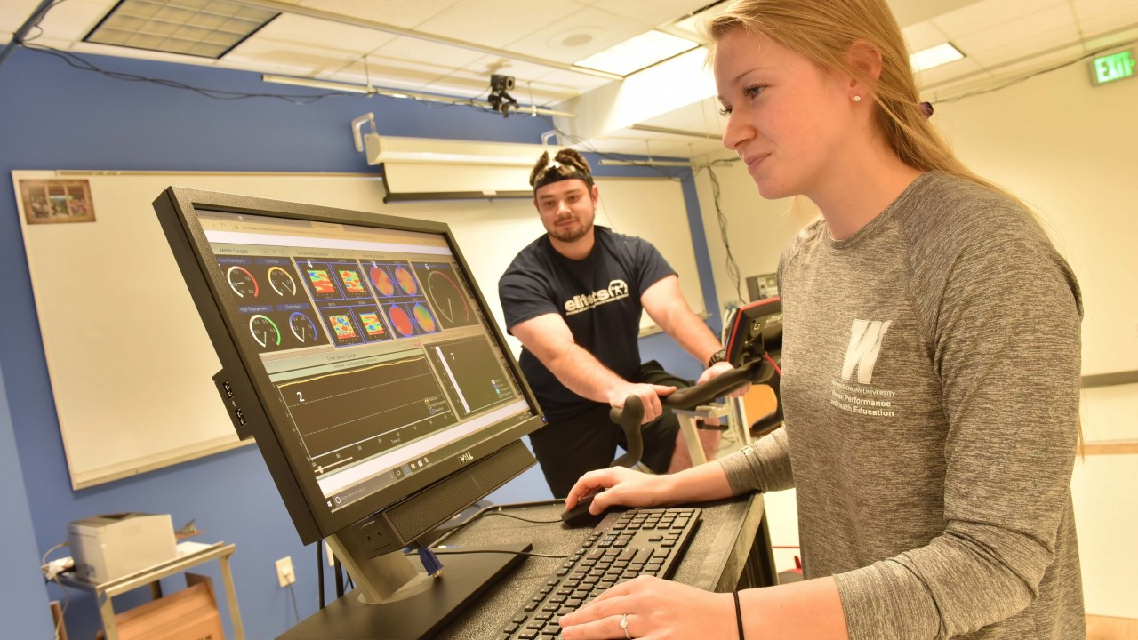 Student Rachel Dystra in athletic training class