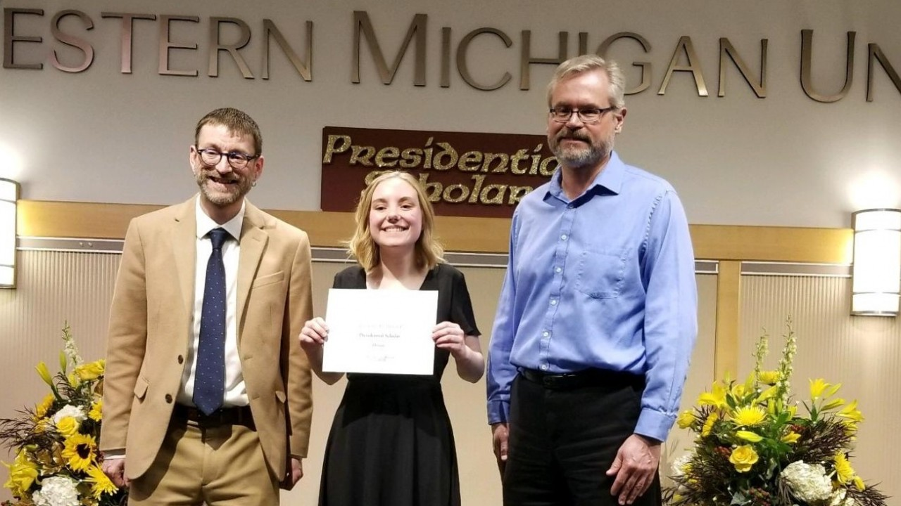 Photo of Presidential Scholar Award Winner Alexandra Bicknell with Josh Koenig and Bill Warren