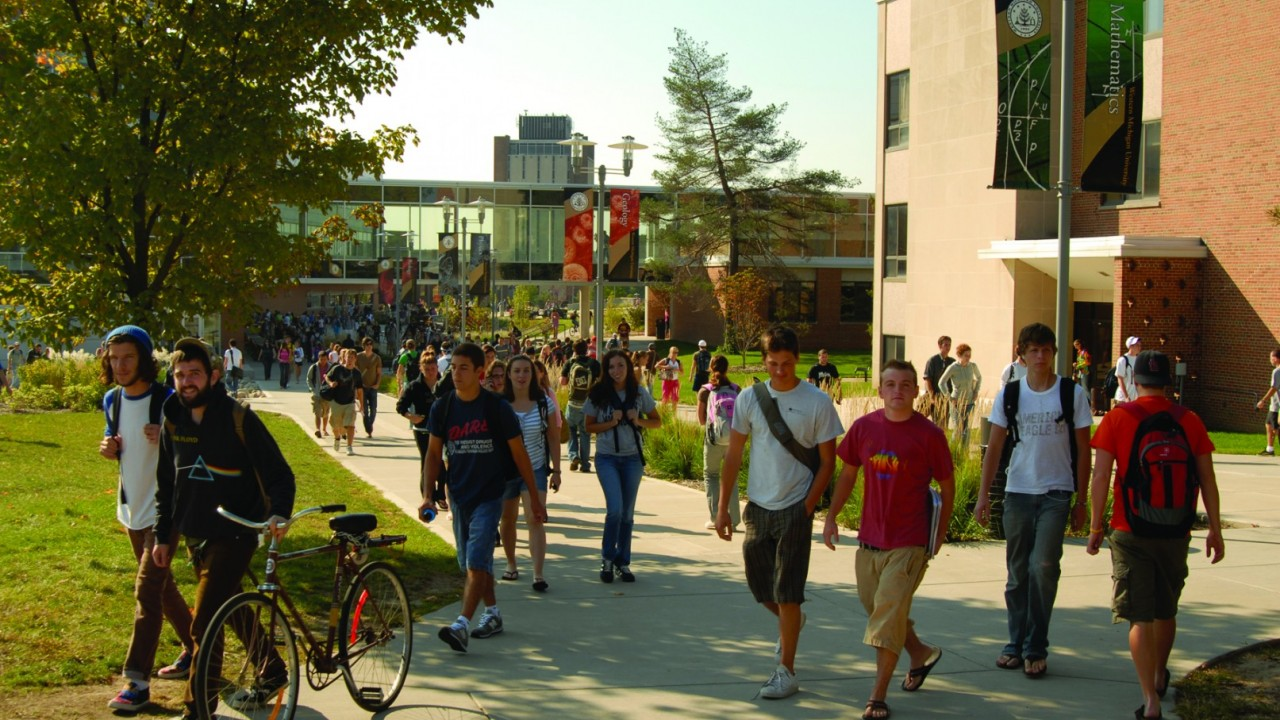 Students walking on WMU campus
