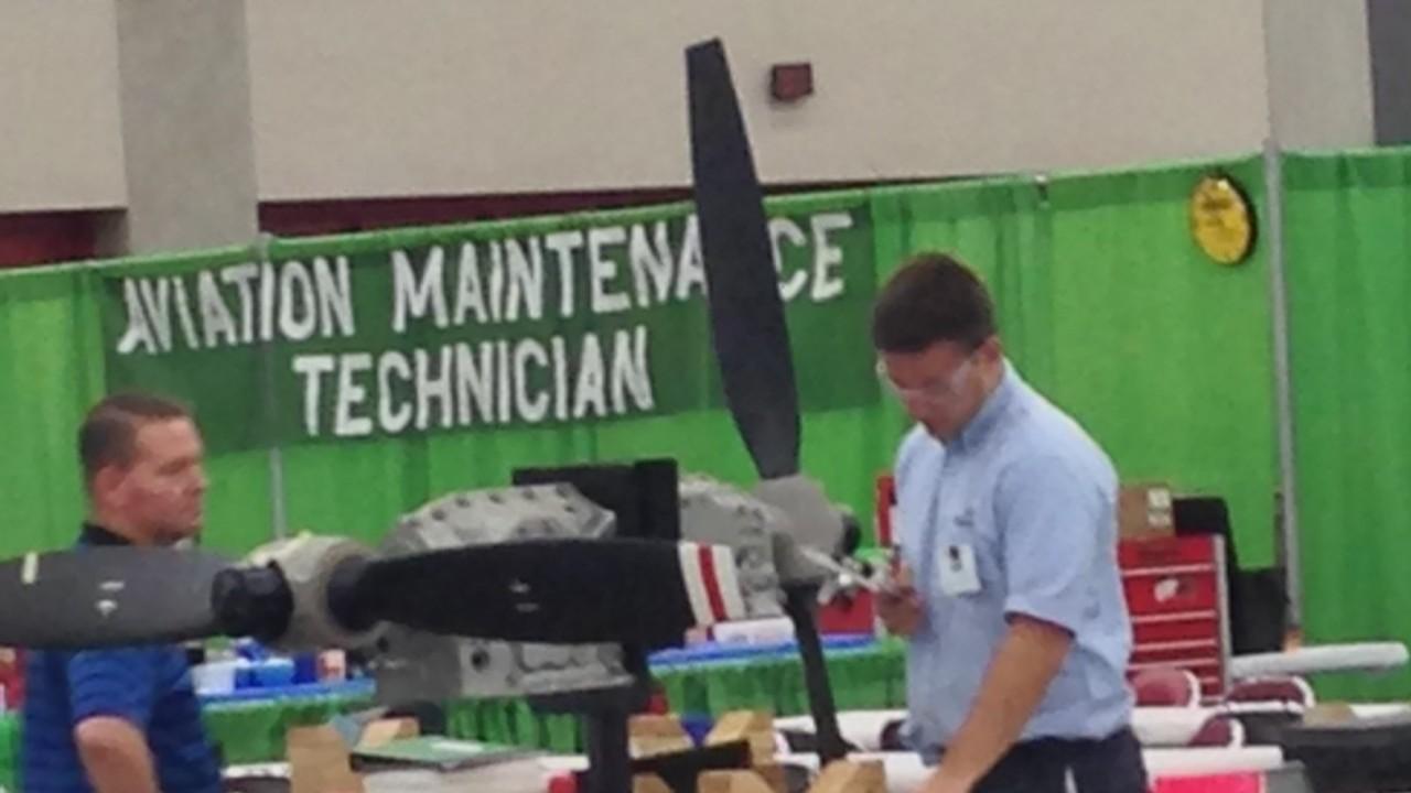 Airframe and Powerplant competition at SkillsUSA - WMU aviation maintenance