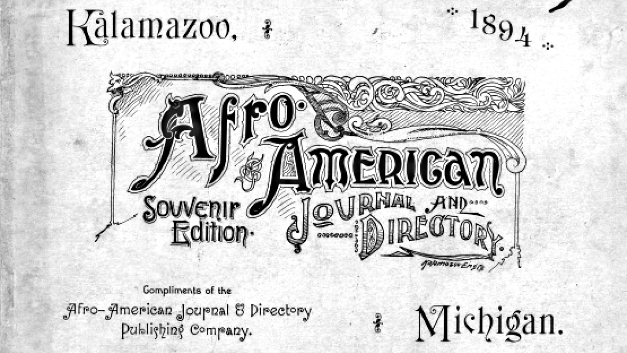 Cover of the 1894 edition of the Kalamazoo Afro-American Journal and Directory.