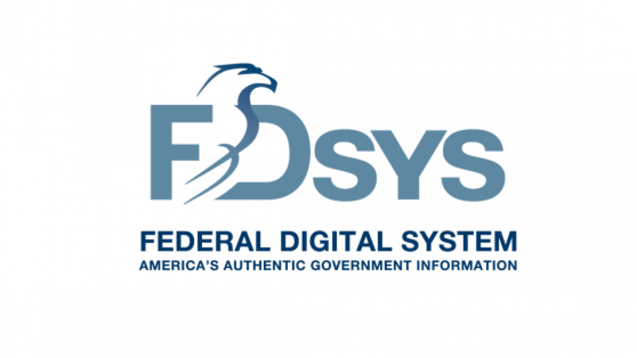 Logo of Federal Digital System which provides free online access to official publications from all three branches of America's Federal Government.