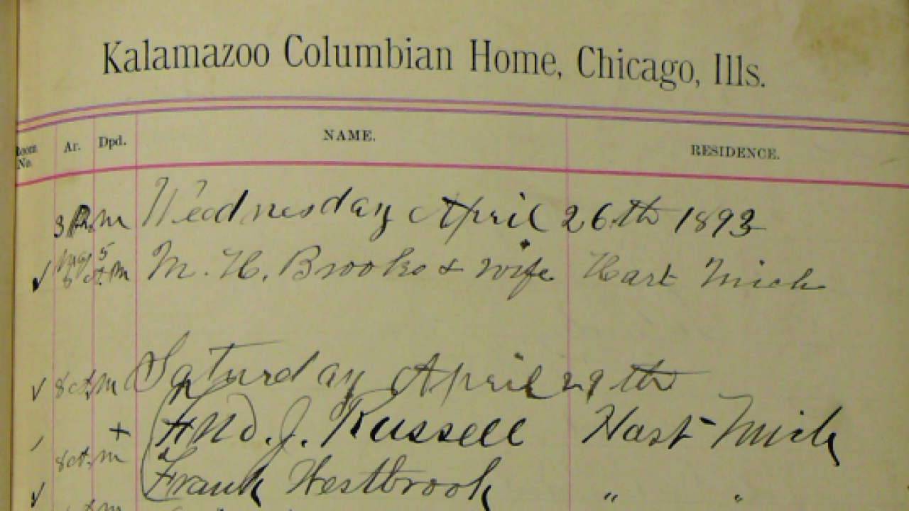 Portion of a page from the Kalamazoo Columbian Home Ledger.