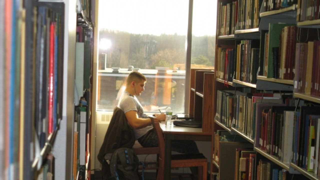 Student studying at a desk by a window at Waldo Library.