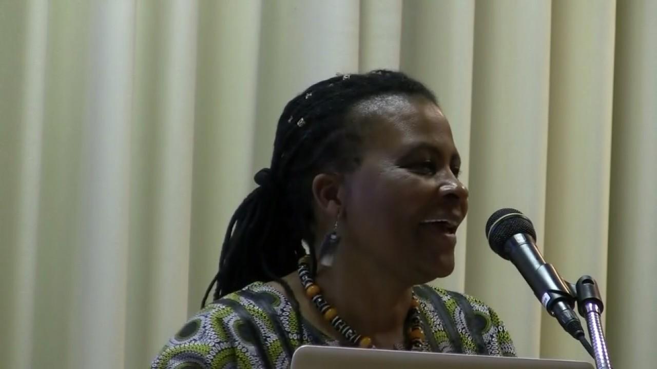 Dr. Tererai Trent giving presentation.