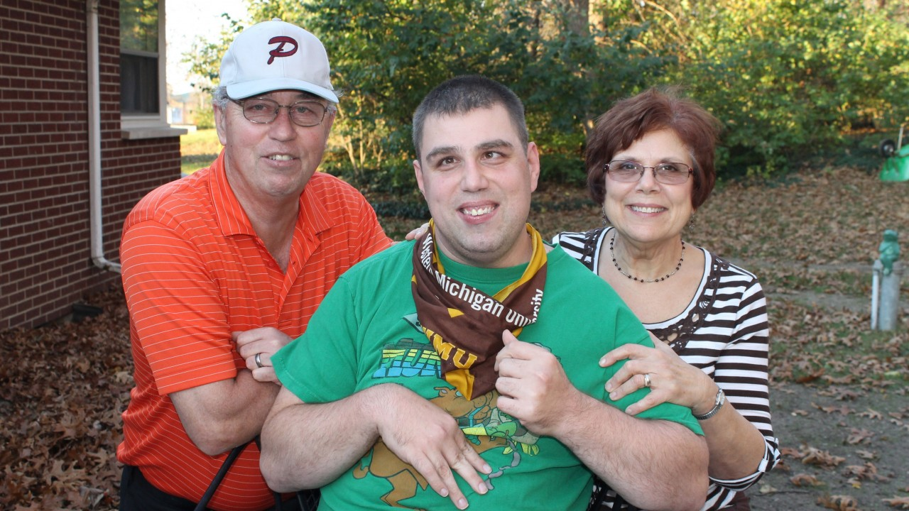 Consumer pictured with his parents