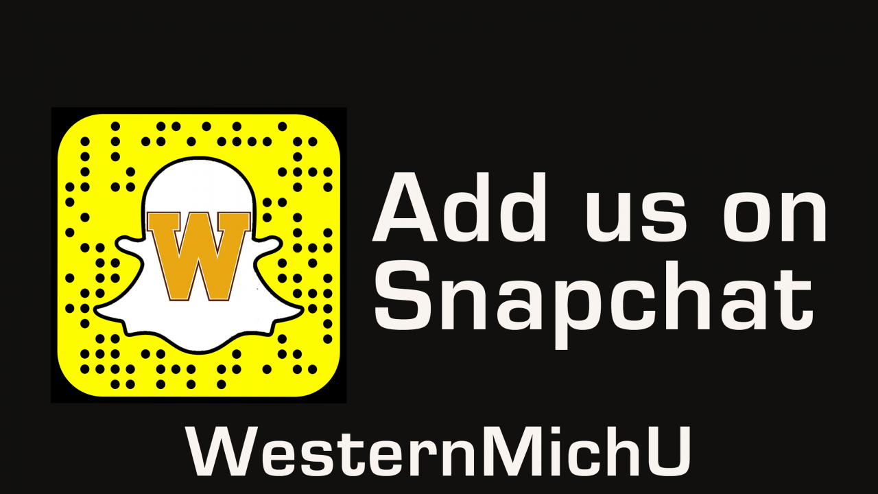 Graphic depicting WesternMichU Snapchat information.