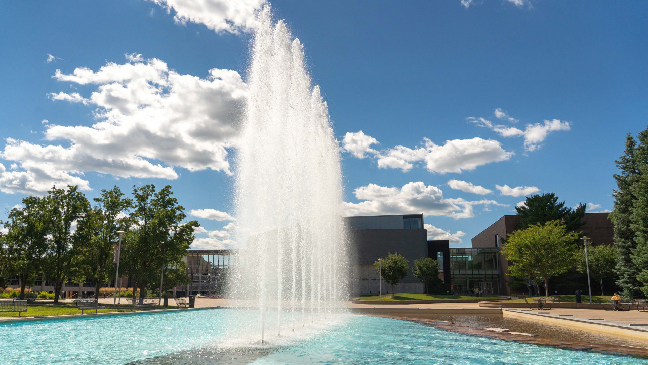 The large fountain spewing water on main campus.