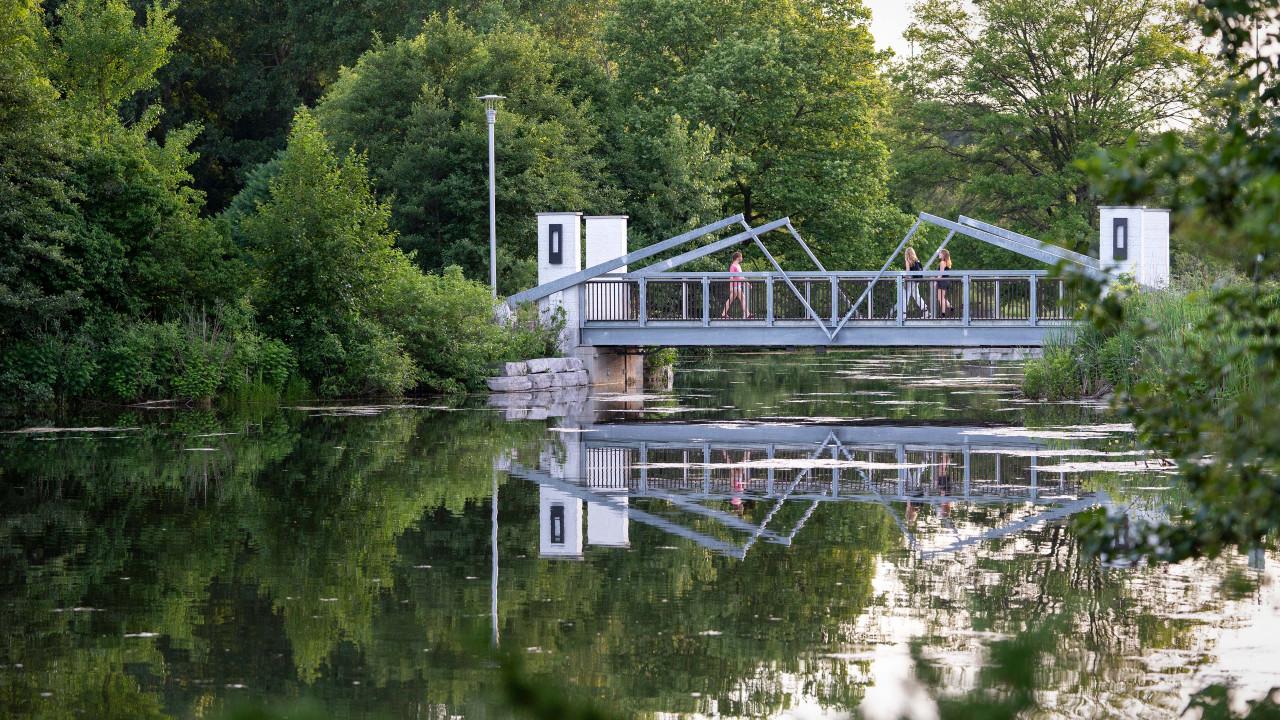 Students walking across the bridge over Goldsworth Valley Pond.