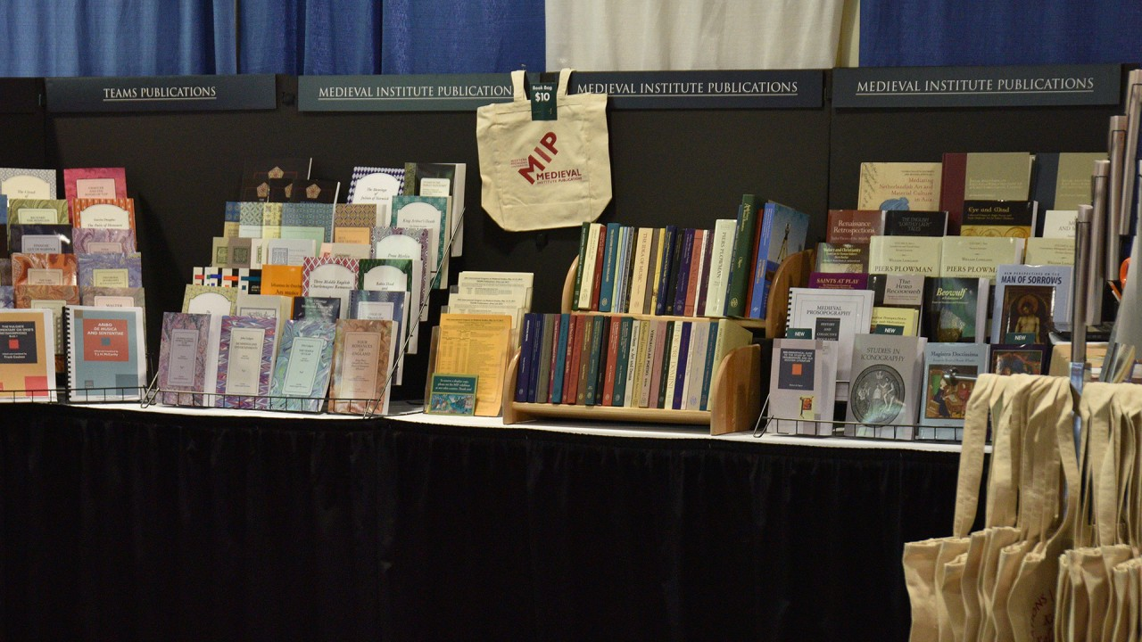 Image of the Medieval Institute Publiations booth at the International Congress on Medieval Studies.