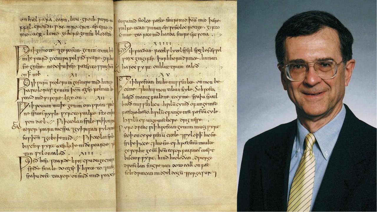 The manuscript of Bald's Leechbook and a portrait of Paul E. Szarmach.