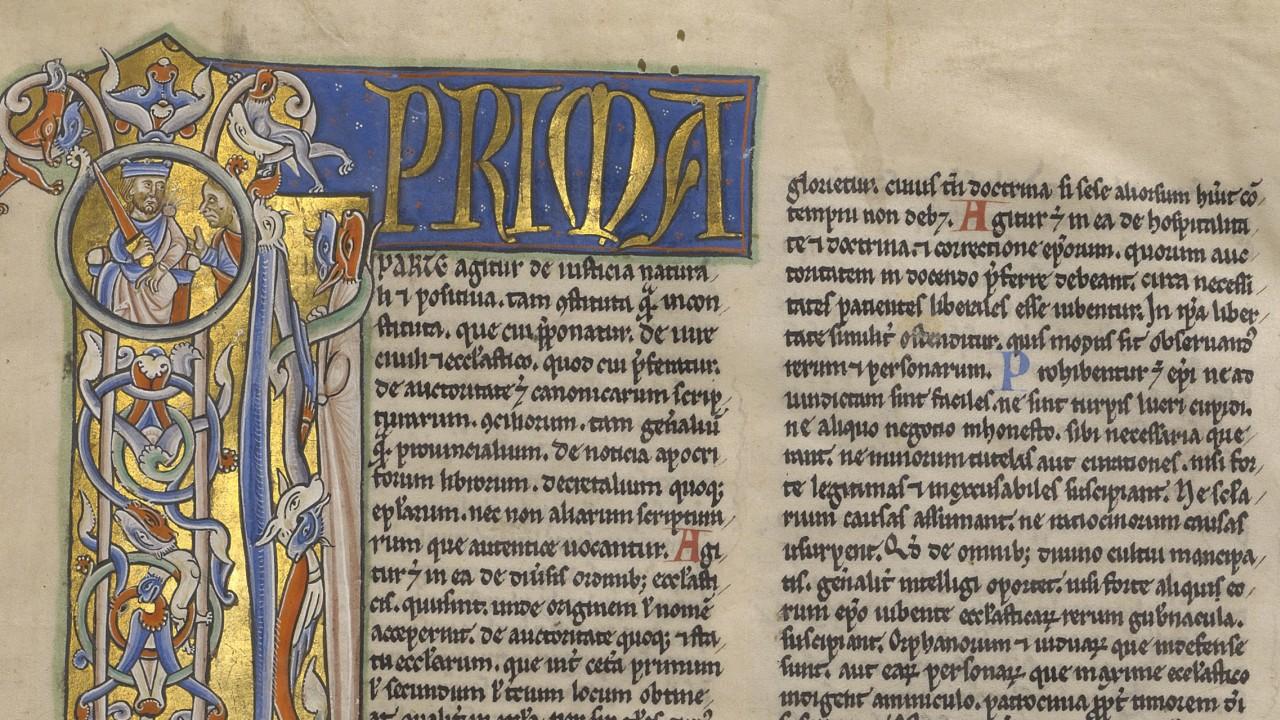 Detail image of a twelfth-century manuscript of Gratian's Decretals.