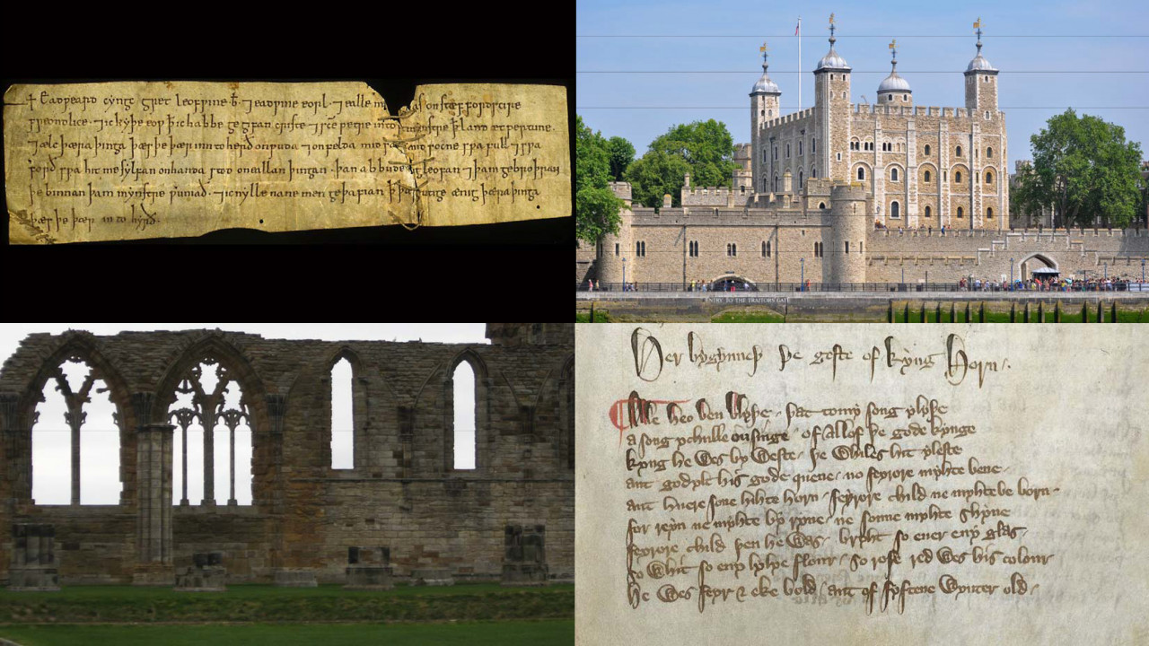 A composite image showing a Writ of Edward the Confessor, the Tower of London, the ruins of Whitby Abbey, and medieval manuscript of the romance King Horn.
