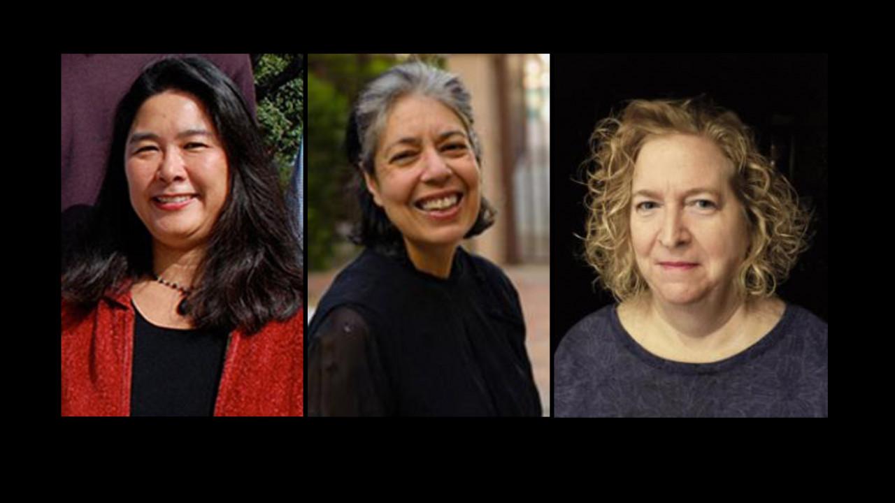 Potraits of Sharon Kinoshita, Danuta Shanzer, and Wendy Belcher.