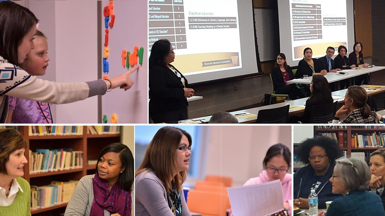 montage of images of teachers working with students