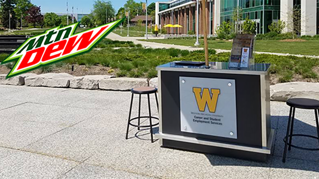 Visit the Career Chat Kiosk and grab a Mtn Dew!