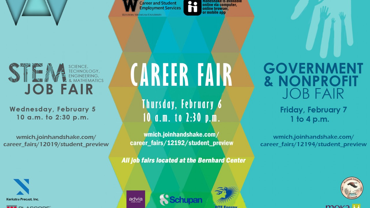 Slide with information for the three job fairs in February 2020