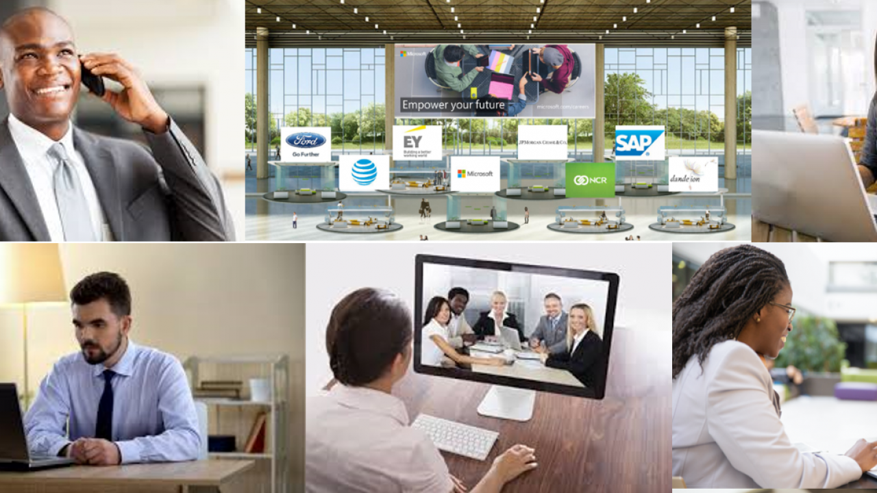 A collage of photos showing people interviewing on laptops and phones, as well as a header for a virtual job fair
