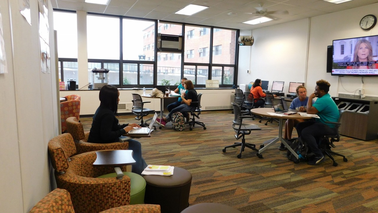 Students receiving career advising in the Career Zone located in Ellsworth Hall on main campus.