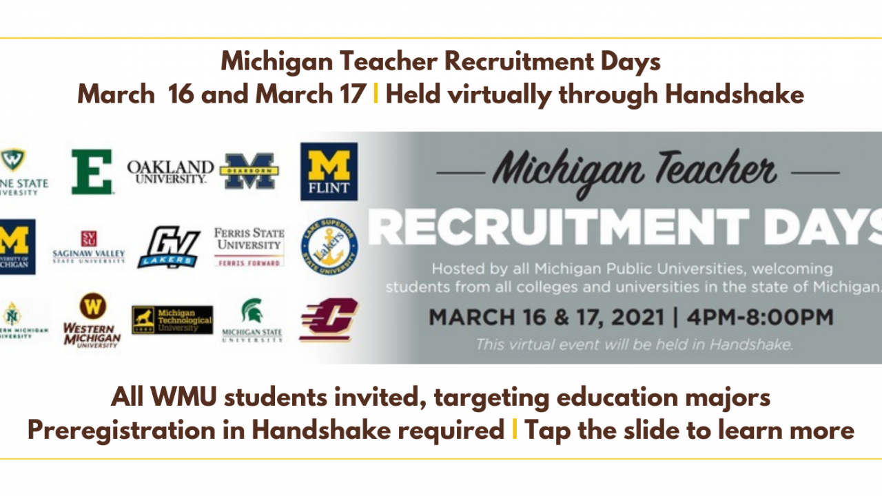 , targeting education majors. Preregistration in Handshake required, tap the slide to learn more.