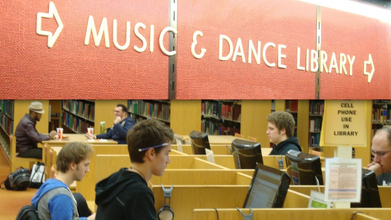 WMU students using the computer work stations at the Maybee Music and Dance Library in Dalton Center.