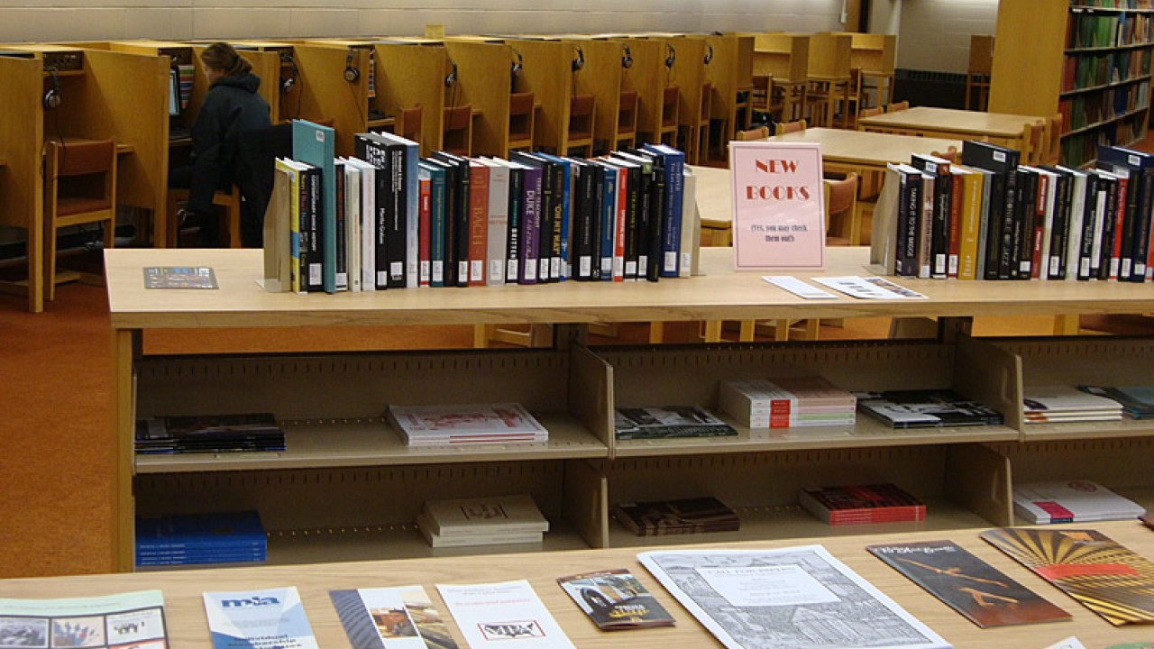 New books section at the Music and Dance Library.