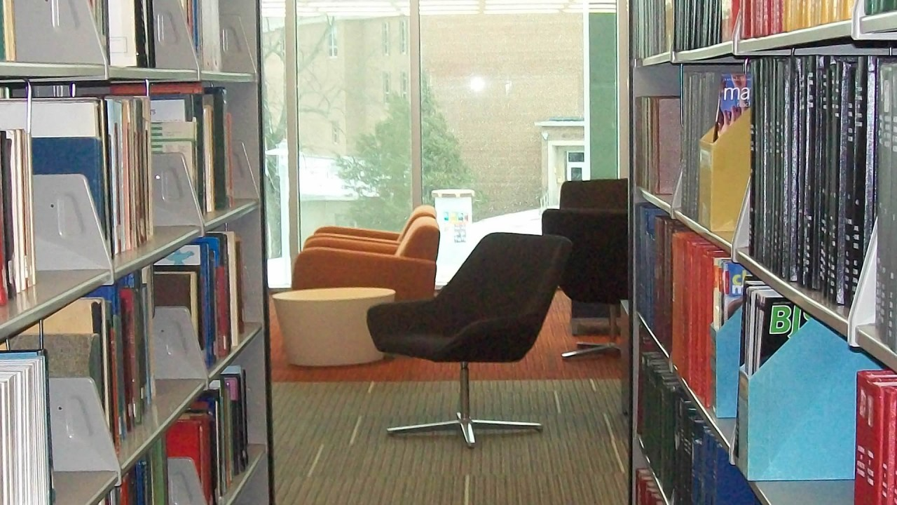 Study zone featuring chairs at Swain Education Library in Sangren Hall.