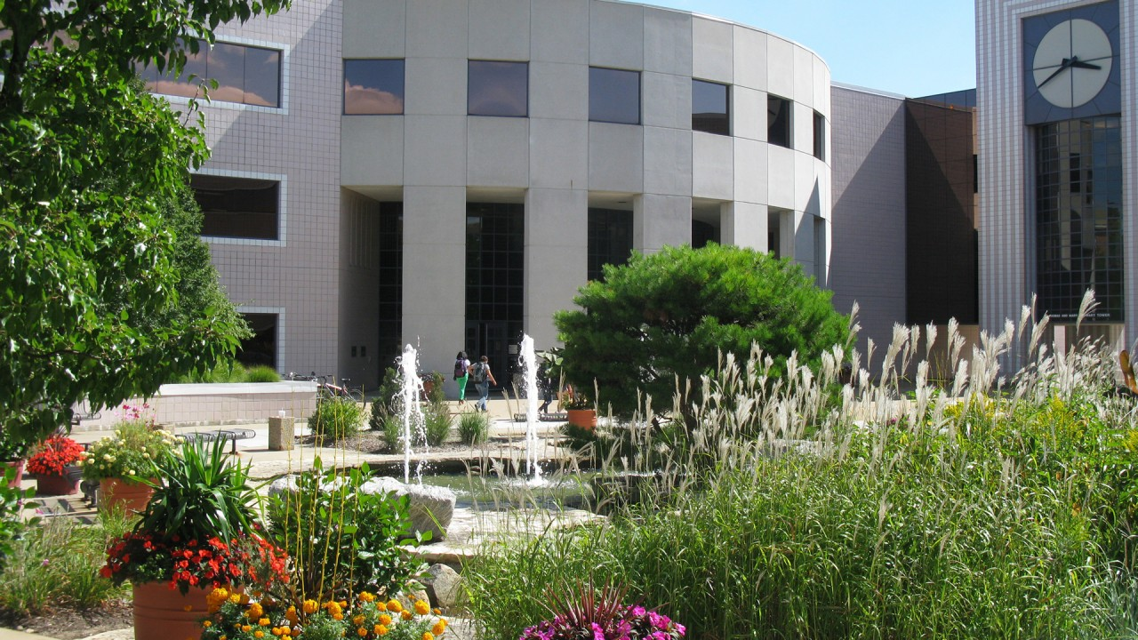 Photograph of Waldo Library during beautiful summer